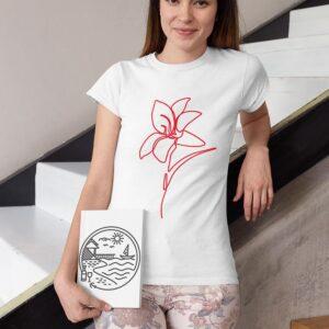 naiste t-särk liilia valge